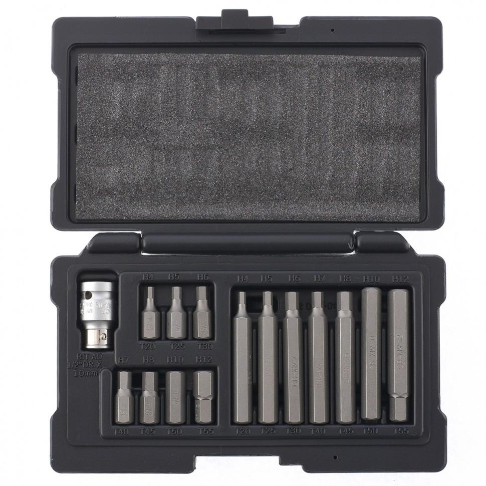 Набор бит HEX, хвостовик-шестигранник 1/2, CrV, 10 мм, 15 предметов Stels