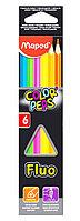 Набор цветных флуоресцентных карандашей Maped Color Peps Fluo 6 цветов