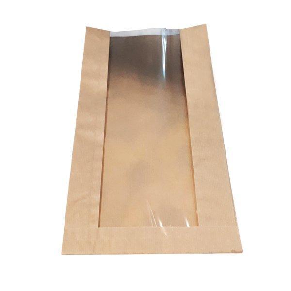 Пакеты  200*70*360мм, без печати из крафт-бумаги 40 г/м2 с демонстрационным окном 120мм, 2000 шт
