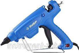 Пистолет ЗУБР клеевой (термоклеящий), эл, эргоном рукоятка, выключатель на рукоятке, рабоч темп 193град, d=12м