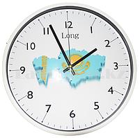 Настенные часы  большие белый корпус с принтом Казахстан (30.2 см диаметр)