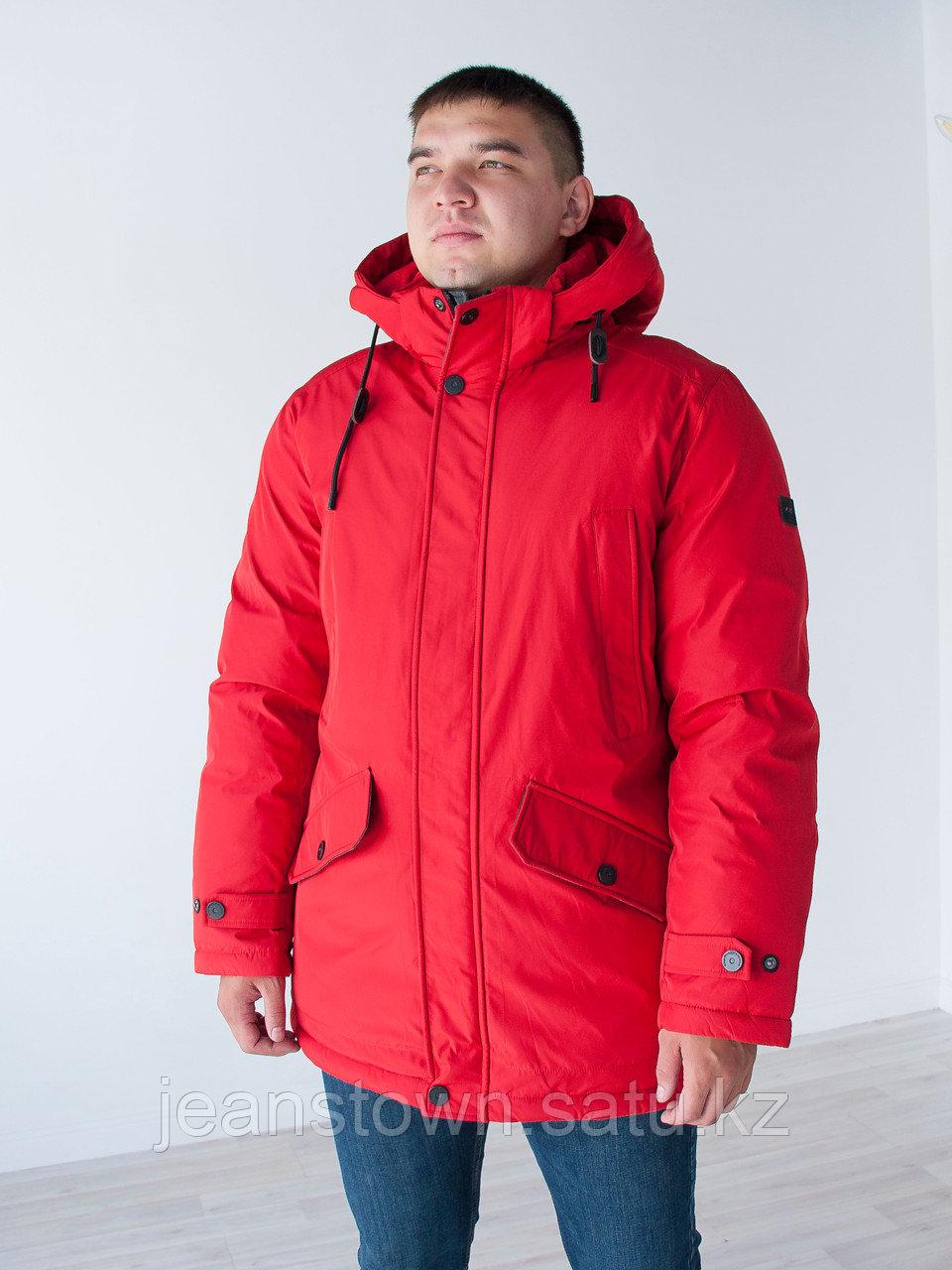 Длинная  зимняя мужская куртка  KINGS WIND   красная