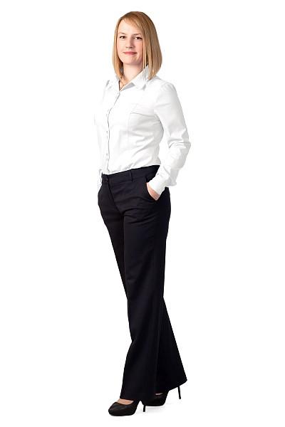 Блузка женская «Слим-Фит» белая, длинный рукав