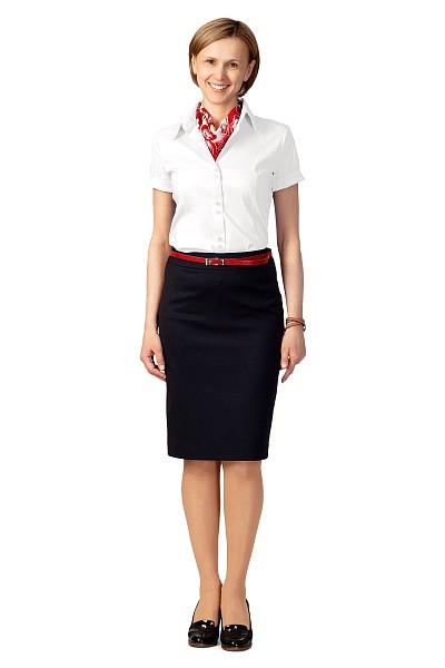 Блузка женская «Слим-Фит» белая, короткий рукав