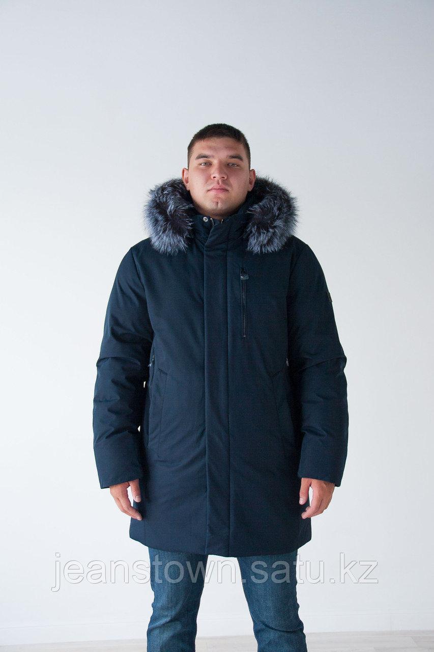 Длинная мужская куртка  KINGS WIND  натуральный  мех чернобурки  на капюшоне, синяя