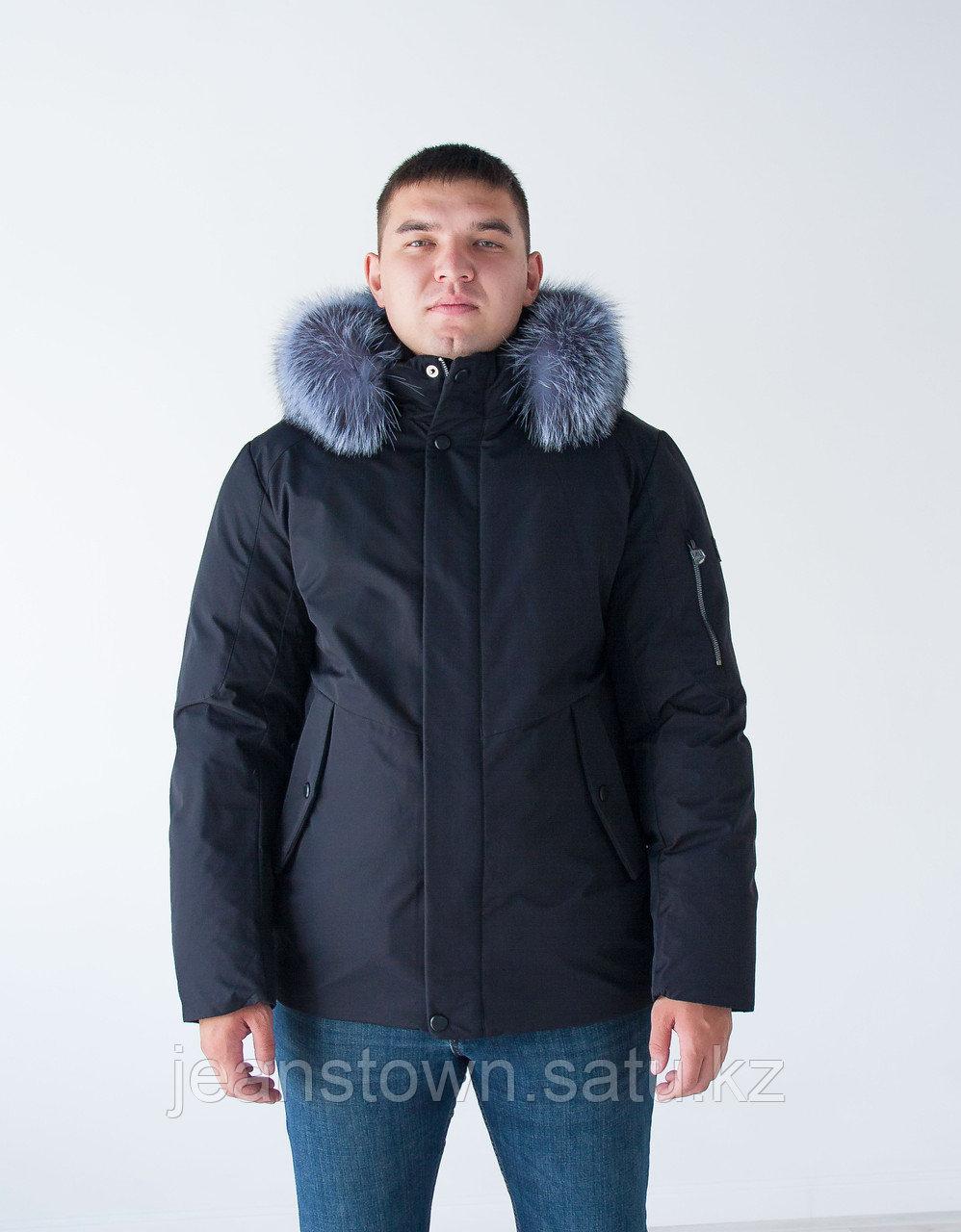 Короткая  мужская куртка  KINGS WIND  натуральный  мех чернобурки  на капюшоне, синяя