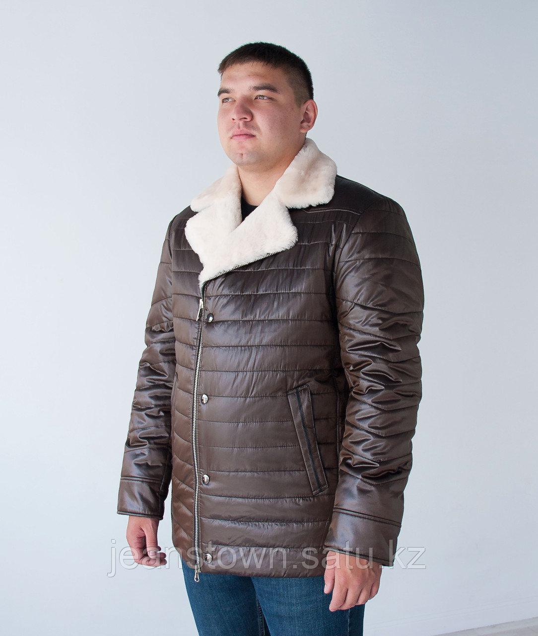 Мужская  классическая  зимняя куртка  City Class, натуральный мех  мутона на воротнике, коричневая