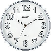 Часы настенные ход плавный, Scarlett SC-55K, круглые, 30,5*30,5*4,6, серебристая рамка