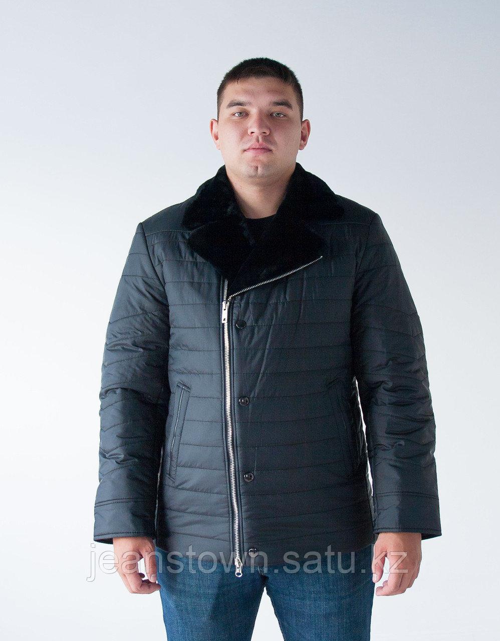 Мужская  классическая  зимняя куртка  City Class, натуральный мех  мутона на воротнике, черная