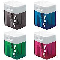 Точилка пластиковая Berlingo, 1 отверстие, контейнер, ассорти