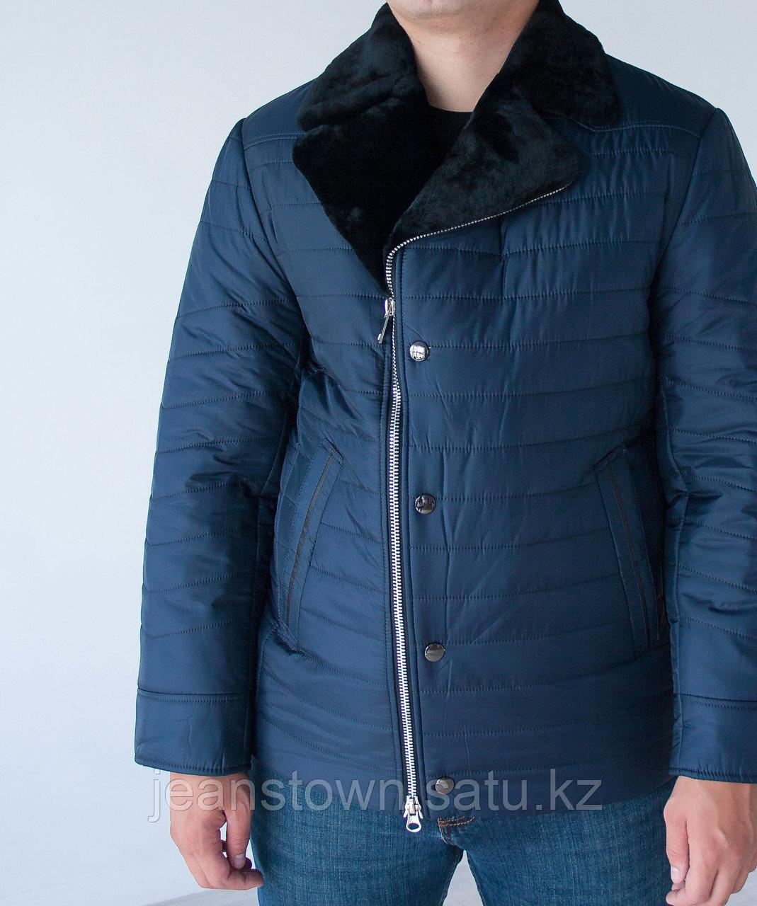 Мужская  классическая  зимняя куртка  City Class, натуральный мех  мутона на воротнике, синяя