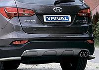 Защита заднего бампера d57 уголки Hyundai Santafe, 2012-2016