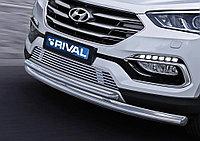 Защита переднего бампера d57+d42 Hyundai Santafe Premium, 2015-2016
