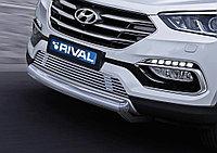 Защита переднего бампера 75x42 овал короткая Hyundai Santafe Premium, 2015-2016