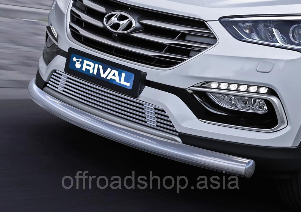 Защита переднего бампера 75x42 овал длинная Hyundai Santafe, 2016-2018