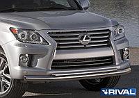 Защита переднего бампера d76+d57 Lexus LX, 2012-2015