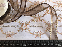 Капроновая лента с сердечками по краям,коричневого цвета, 2,5 см,Д3-20
