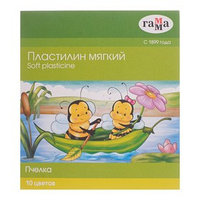 Пластилин мягкий (восковой) 10 цветов 123 г, 'Гамма' 'Пчелка'