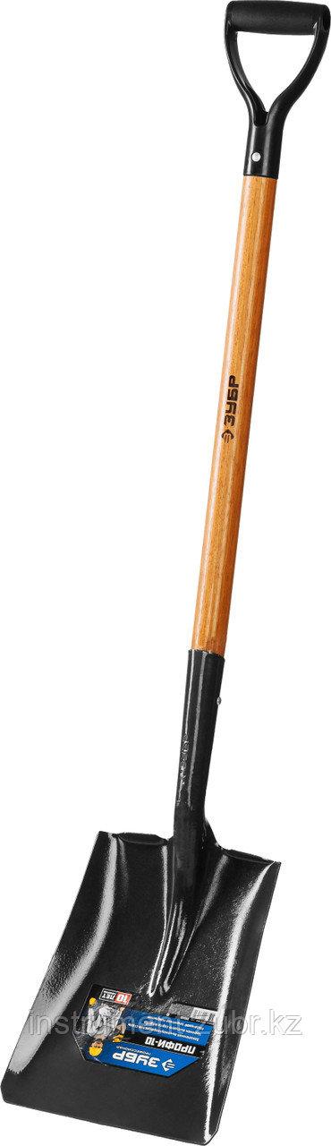 """Лопата """"Профи-10"""" совковая, деревянный черенок, с рукояткой, ЗУБР Профессионал"""