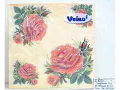 Салфетки сервировочные 33*33 Veiro Розы, 20 штук в пачке