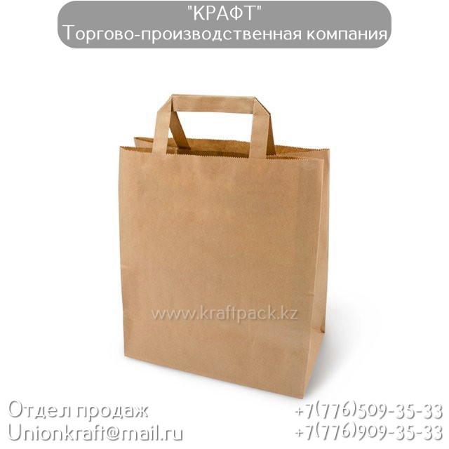 Бумажный крафт пакет, бурый с ПЛОСКОЙ ручкой 70гр 240*140*280 (300шт/уп)