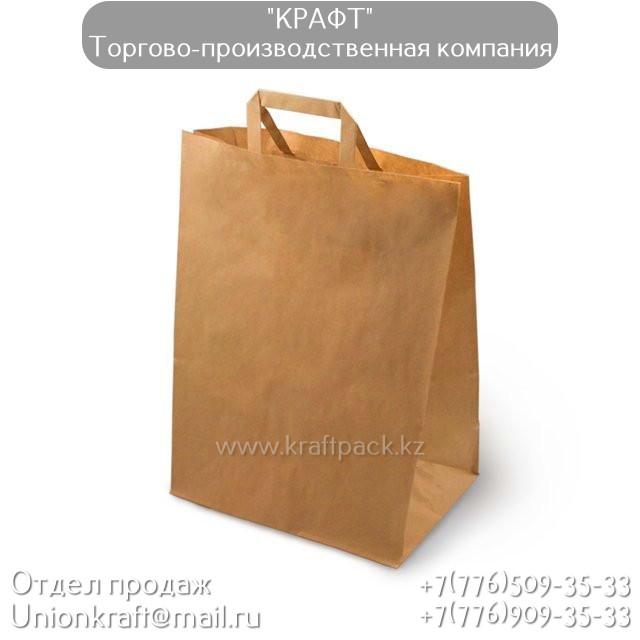 Бумажный крафт пакет, бурый с ПЛОСКОЙ ручкой 70гр 320*200*370 (200шт/уп)