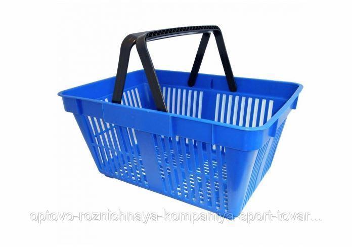 Корзина покупательская пластик SBP20 (440х305х200мм, 20л, 2 черн. ручки, синяя)
