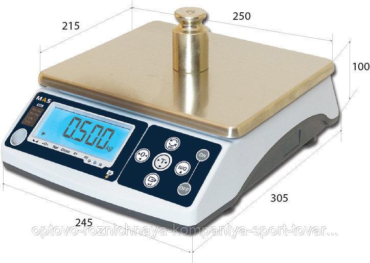 Весы электронные порционные компактные MAS MSC-05 (платформа 250x215мм,  ЖК, до 5 кг)