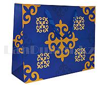 Подарочный пакет Казахский орнамент синий