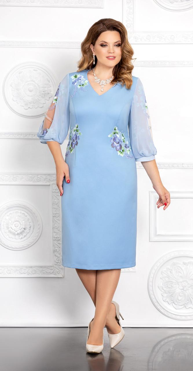 Платье Mira Fashion-4669, голубой, 54