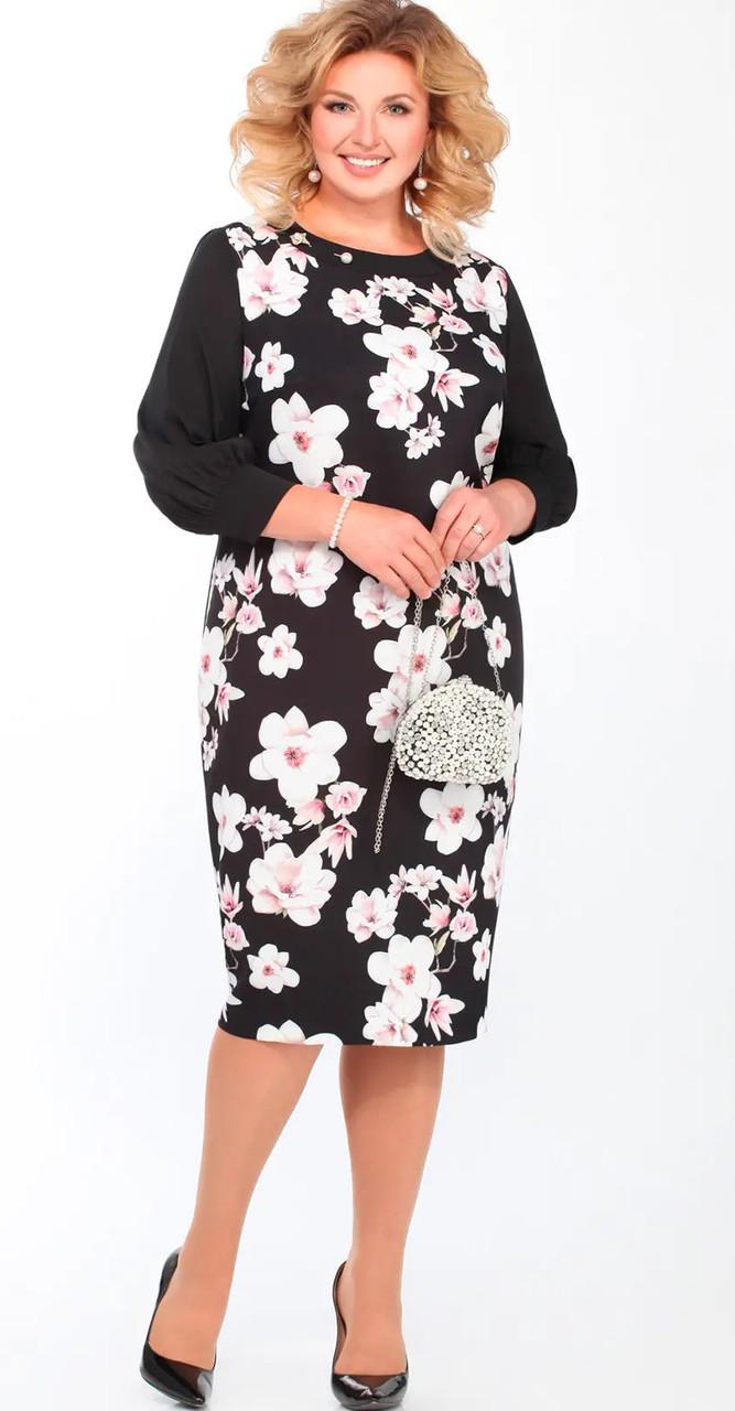 Платье Matini-31347, темные тона в цветы, 60