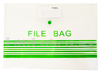 Папка конверт на кнопке File bag А4 (прозрачная)