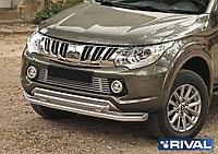 Защита переднего бампера d76+75x42 овал Mitsubishi L200, 2015-