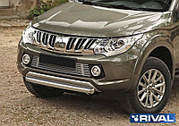 Защита переднего бампера 75x42 овал Mitsubishi L200, 2015-