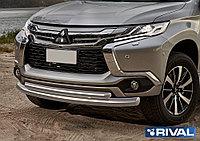 Защита переднего бампера d76+d57 Mitsubishi Pajero Sport, 2016-