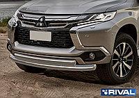 Защита переднего бампера d76+75x42 овал Mitsubishi Pajero Sport, 2016-