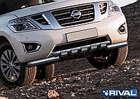 Защита переднего бампера d76+d57 с профильной защитой картера Nissan Patrol, 2014-