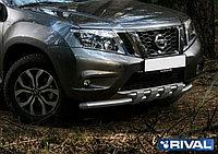 Защита переднего бампера d57+d42 с профильной защитой картера Nissan Terrano, 2014-
