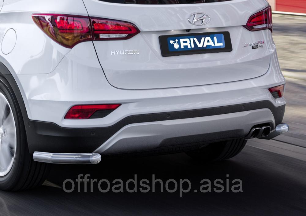 Защита заднего бампера d57 уголки Hyundai Santafe Premium, 2015-2016