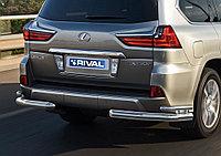 Защита заднего бампера d76+d42 уголки Lexus LX, 2015-