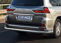 Защита заднего бампера d76+d42 Lexus LX, 2015-
