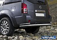 Защита заднего бампера d76+d42 Nissan Pathfinder, 2010-2014