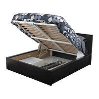 Кровать с подъемным механизмом МАЛЬМ 180х200 черно-коричневый ИКЕА, IKEA, фото 1