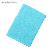 """Полотенце махровое банное """"Волна"""", размер 70х130 см, 300 г/м2, цвет голубой"""