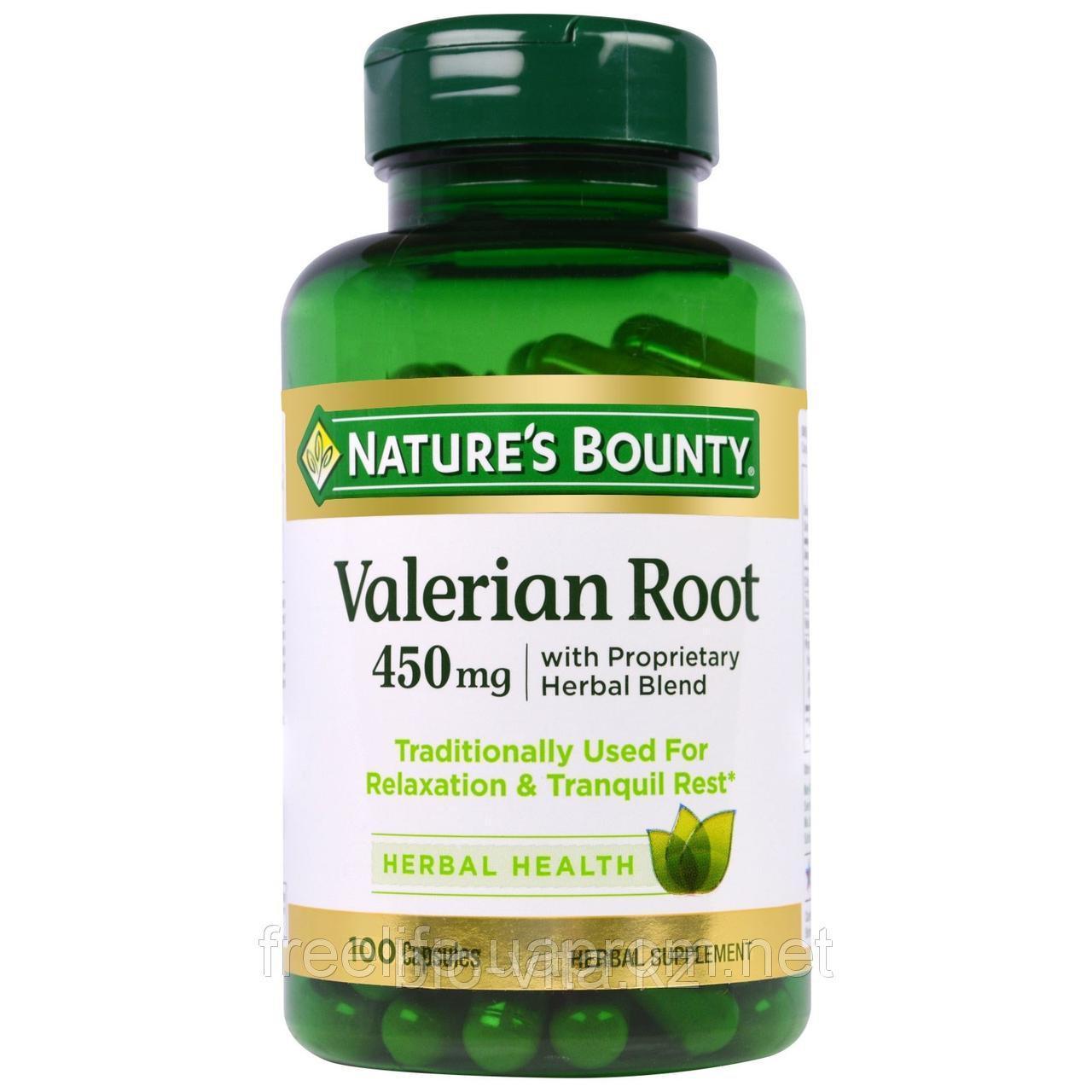 Nature's Bounty, Корень валерианы с фирменной смесью трав, 450 мг, 100 капсул.