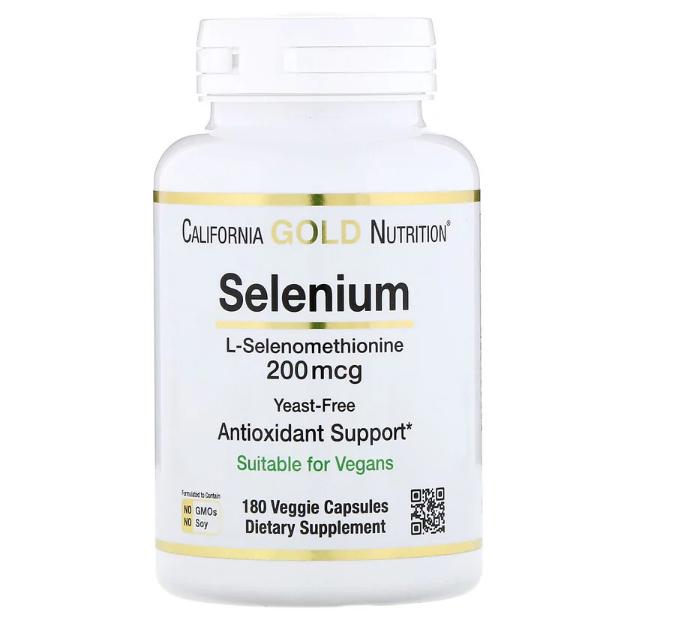 California Gold Nutrition, Селен, без дрожжей, 200 мкг, 180 вегетарианских капсул