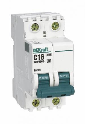 Выключатель автоматический ВА 101 2P  6А 4,5кА С DEKraft