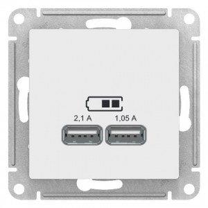 "USB розетка - 2 порта с/у б/рамки ""ATLAS"" белый (1) ATL133 , фото 2"