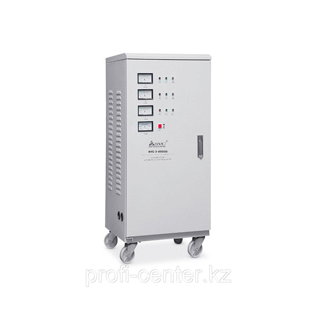 Автоматический трёхфазный стабилизатор напряжения сервоприводного типа SVC-3-45000