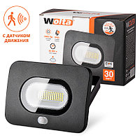 Светодиодный прожектор LED 30 Вт  с датчиком движения  5500K   IP65 2400 Лм Wolta